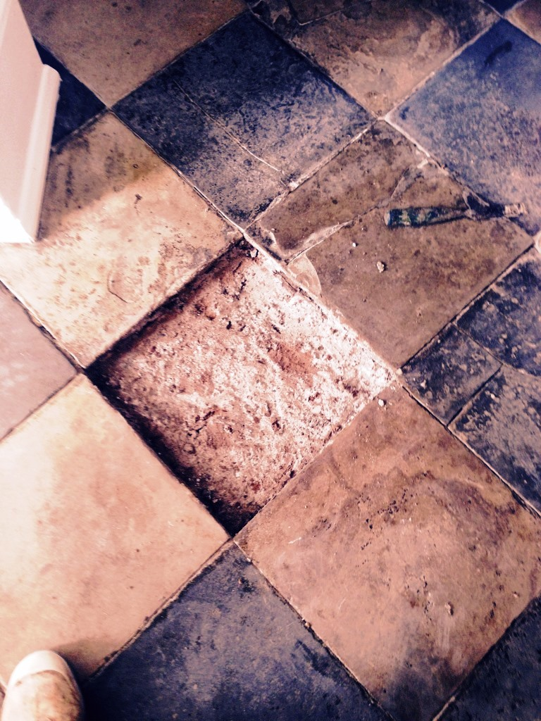 Limestone and Slate tiled floor During Tile Replacement Restoration in Worcester