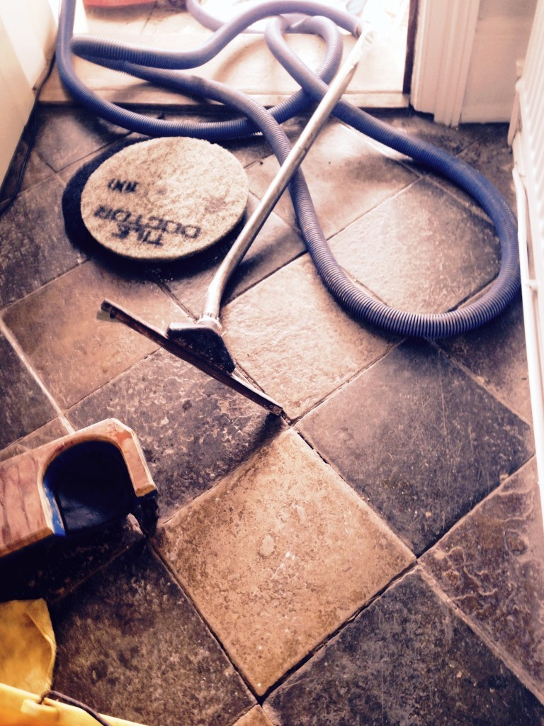 Limestone and Slate tiled floor before Restoration in Worcester