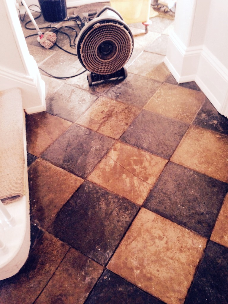 Limestone and Slate tiled floor before Restoration in Worcester