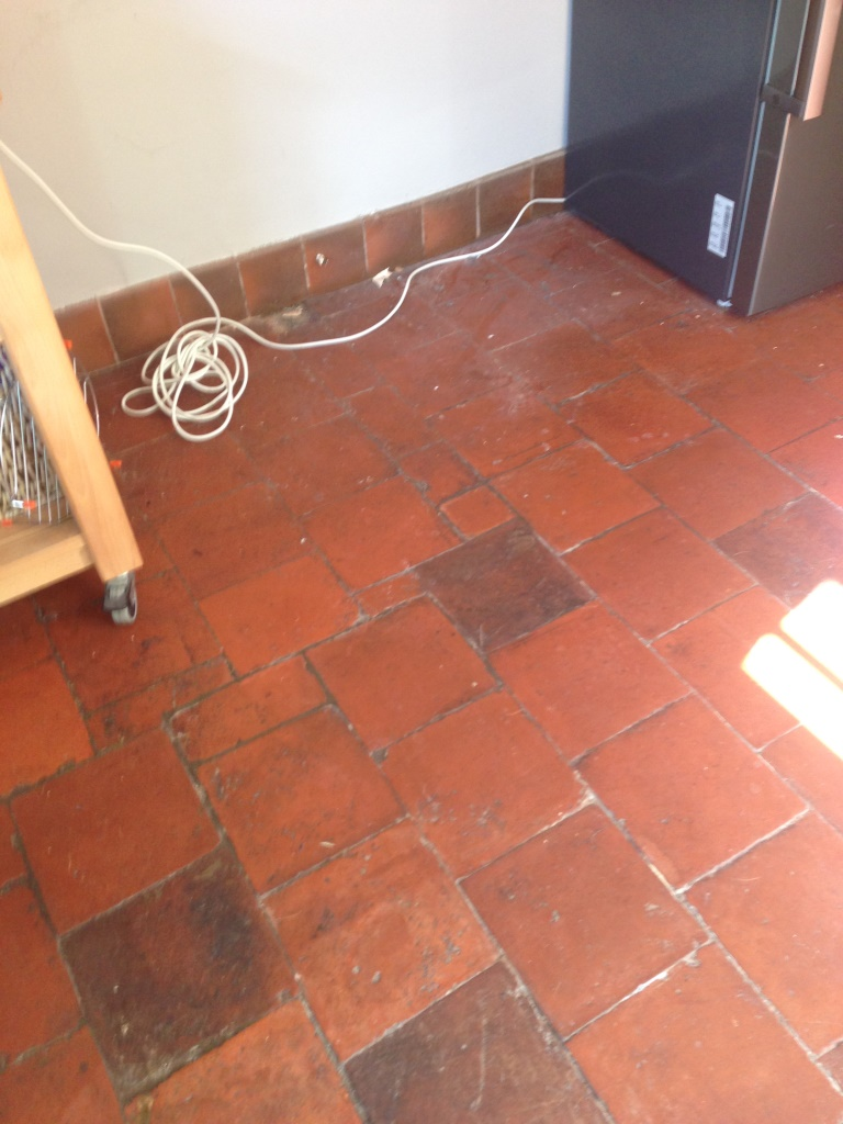 Quarry Tiled Hallway Worcester Before Cleaning