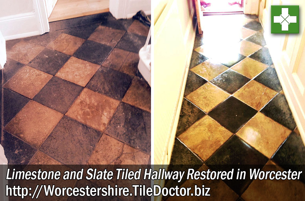 Limestone and Slate Tiled Hallway Before and After Restoration in Worcester