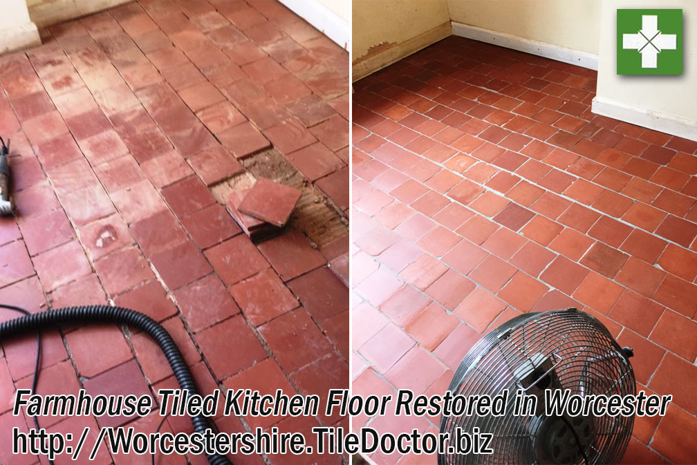 Quarry Tiled Farm Kitchen Floor Before and After Cleaning in Worcester
