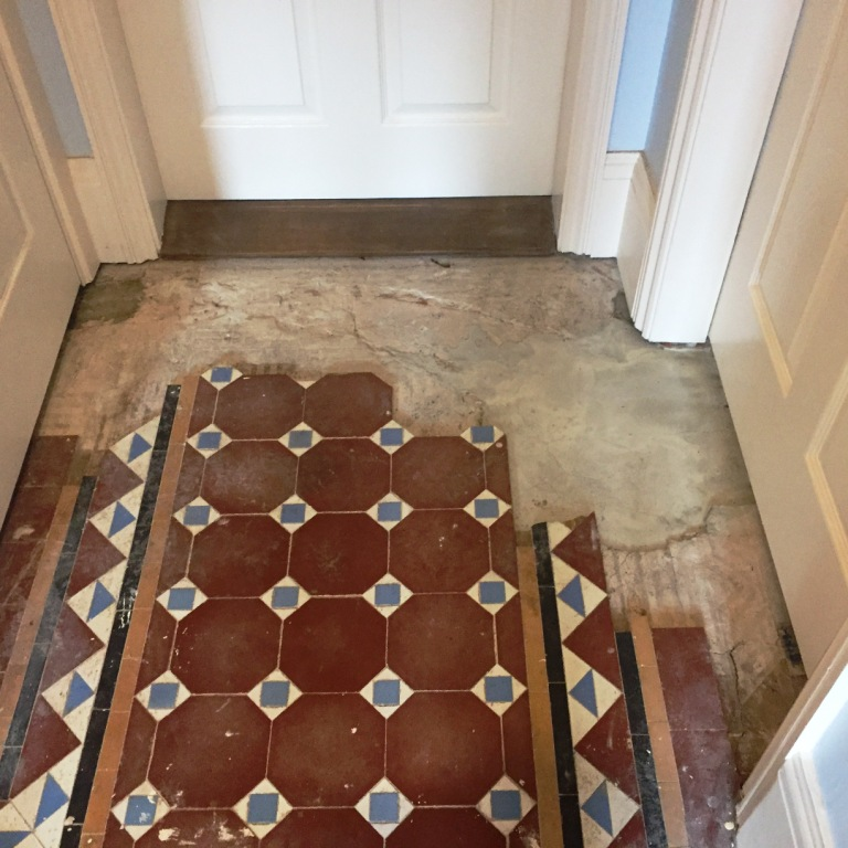 Edwardian Tiled Hallway During Restoration in Bewdley
