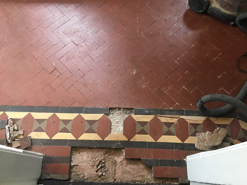 Victorian Tiled Floor Before Restoration Kidderminster