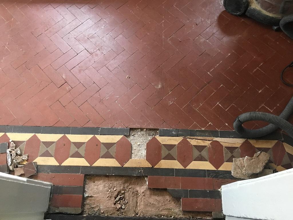 Victorian Tiled Floor Before Restoration Kidderminster