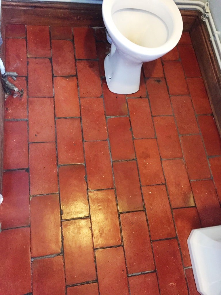 Quarry Tiled WC Floor Brotheridge Green Farmhouse After Cleaning