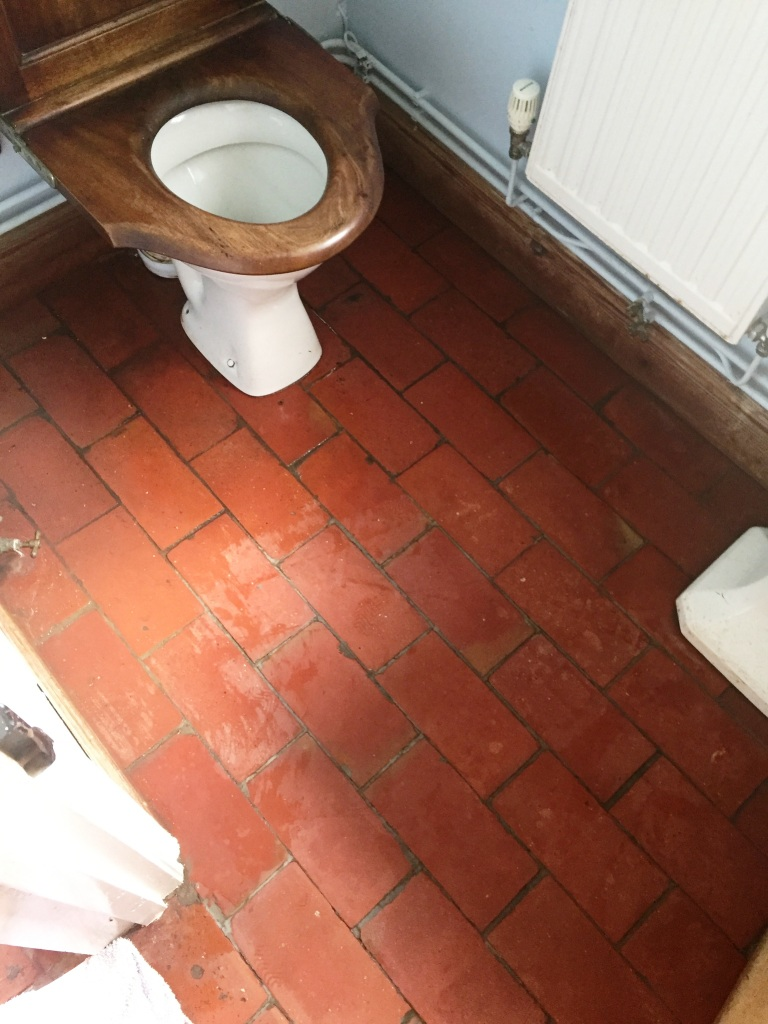 Quarry Tiled WC Floor Brotheridge Green Farmhouse Before Cleaning