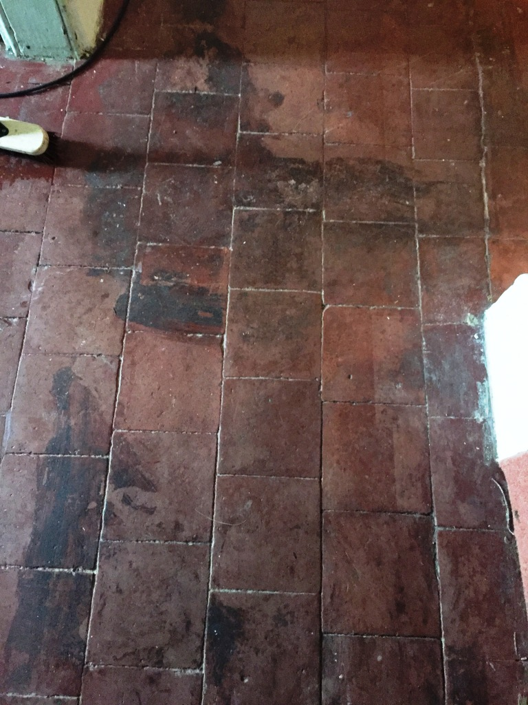 Period Quarry Tiled Floor Before Restoration Great Witley