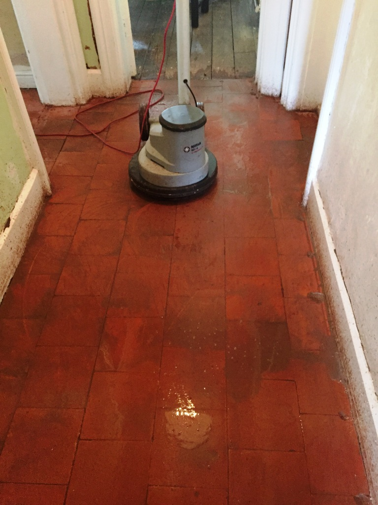 Period Quarry Tiled Floor During Restoration Great Witley