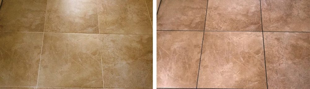 Grout Colour Changed on Large Porcelain Tiled Floor in Kidderminster