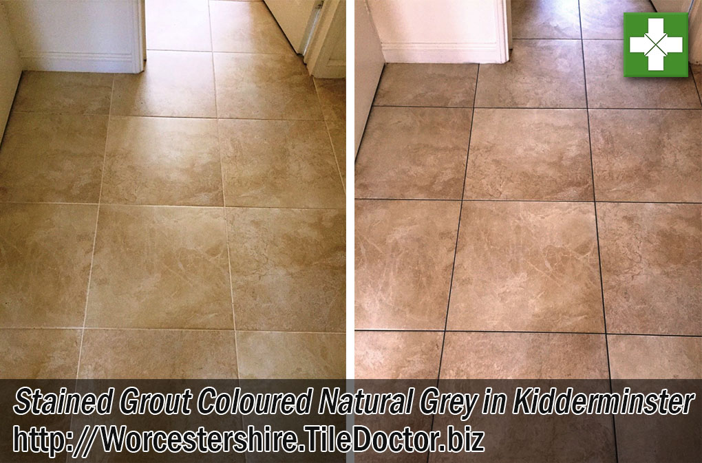 Stained Grout Before After Colouring Kidderminster Worcestershire
