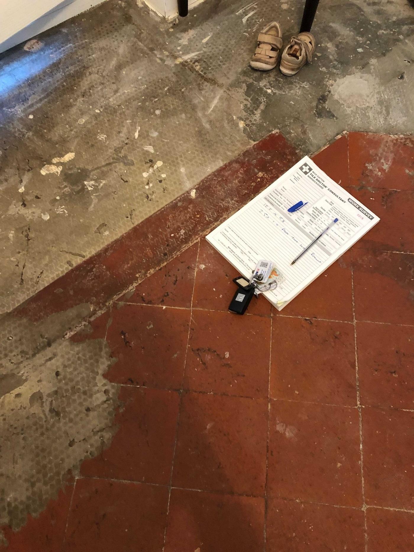 Quarry Tiled Floor Extension Blakedown Kidderminster Before