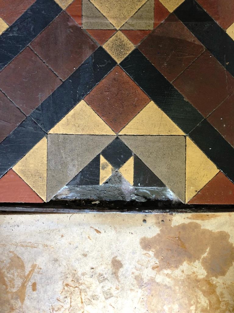 Victorian Tiled Hallway Floor During Repair Worcester