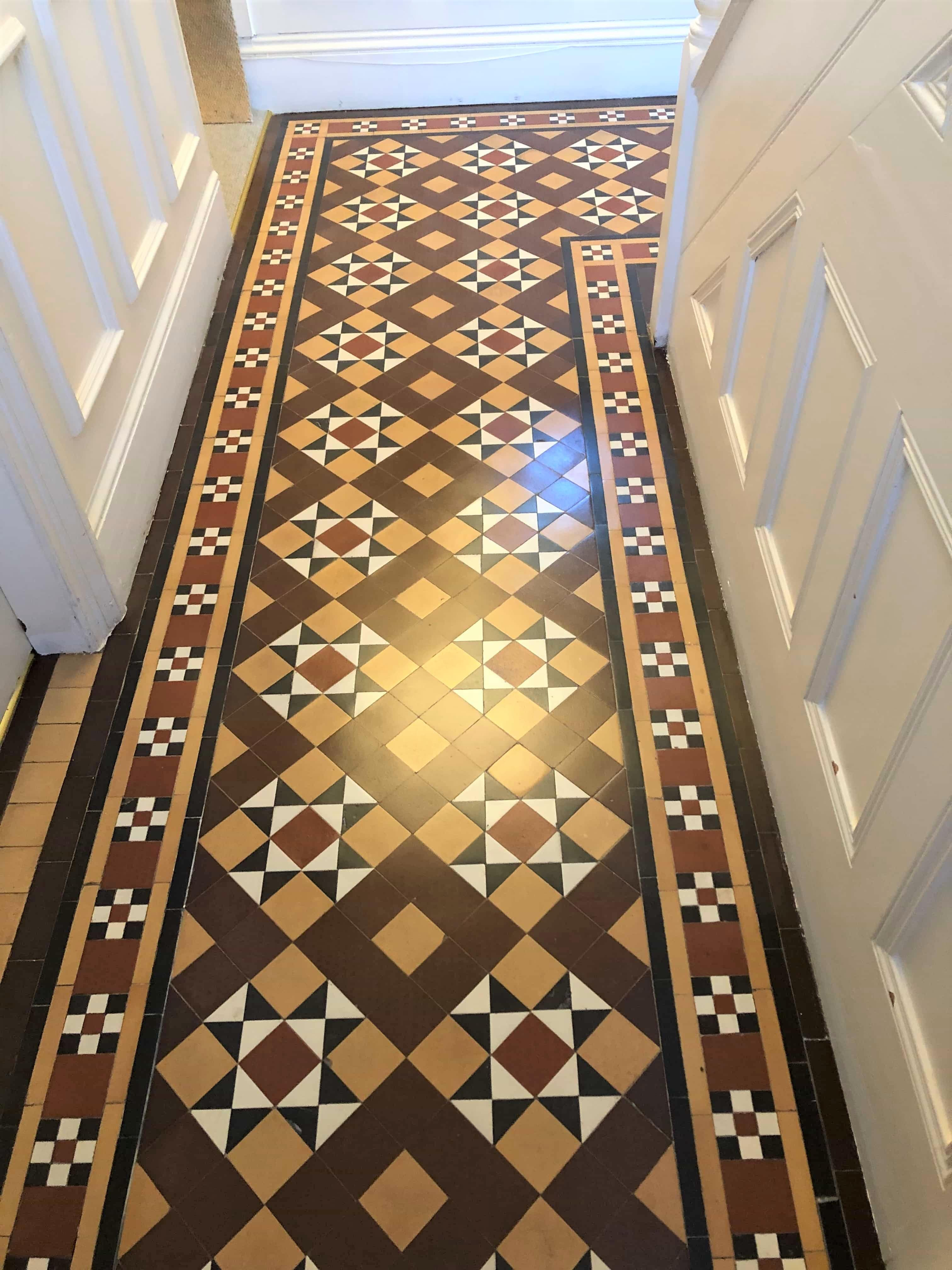 Victorian Tiled Hallway After Cleaning Sealing Evesham