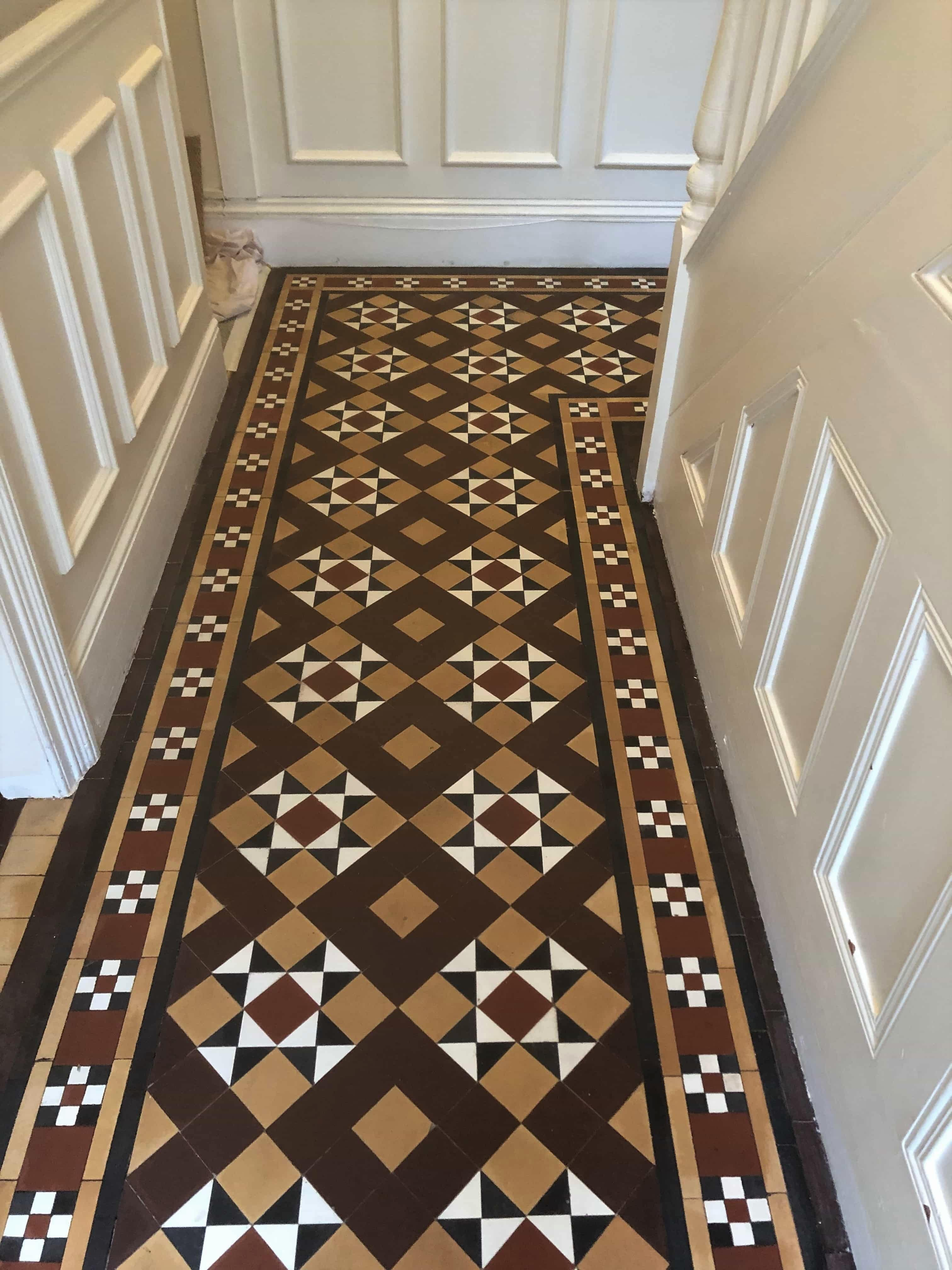 Victorian Tiled Hallway Before Cleaning Evesham