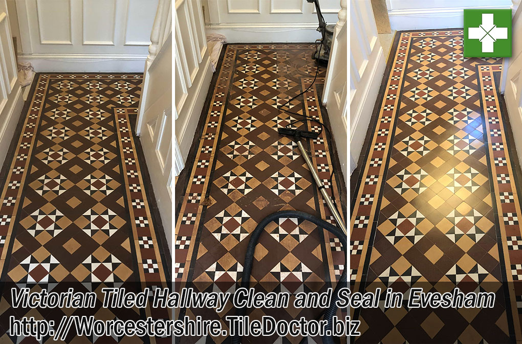 Victorian Tiled Hallway Floor Before After Cleaning Evesham