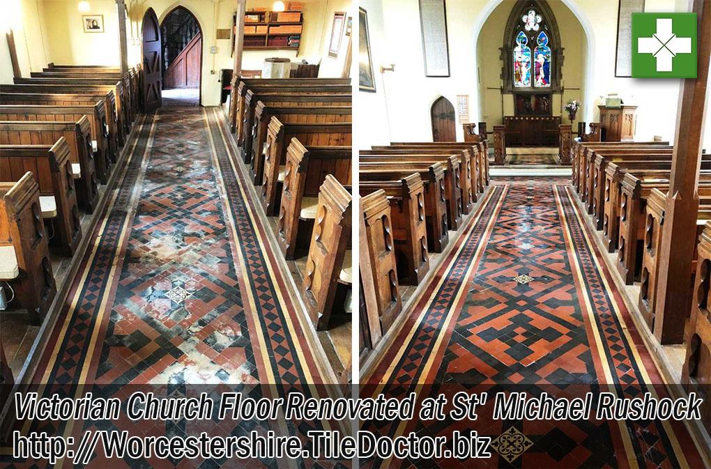 Victorian Tiled Hallway Floor Before After Restoration Rushock