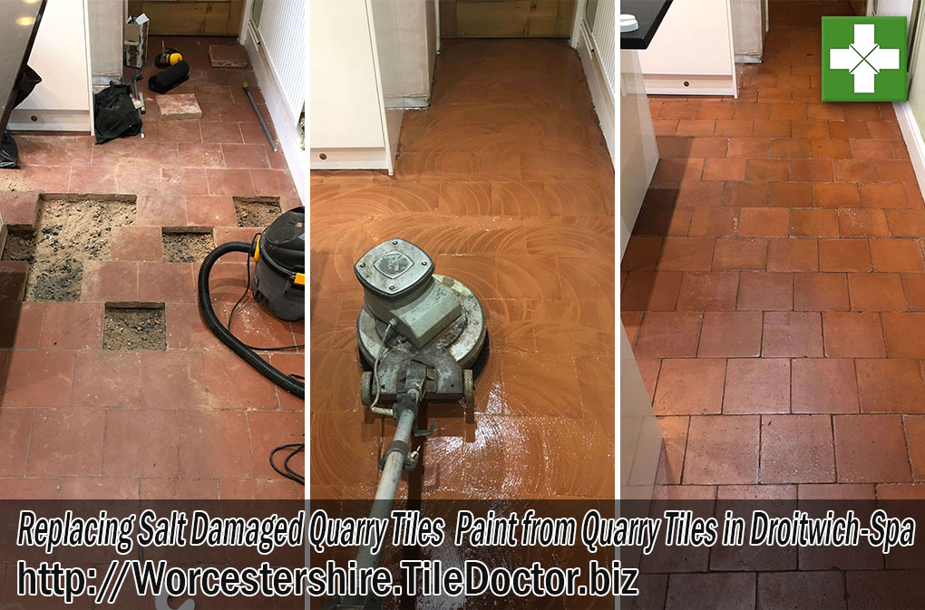Quarry Tiled Floor Before and After Restoration Droitwich-Spa