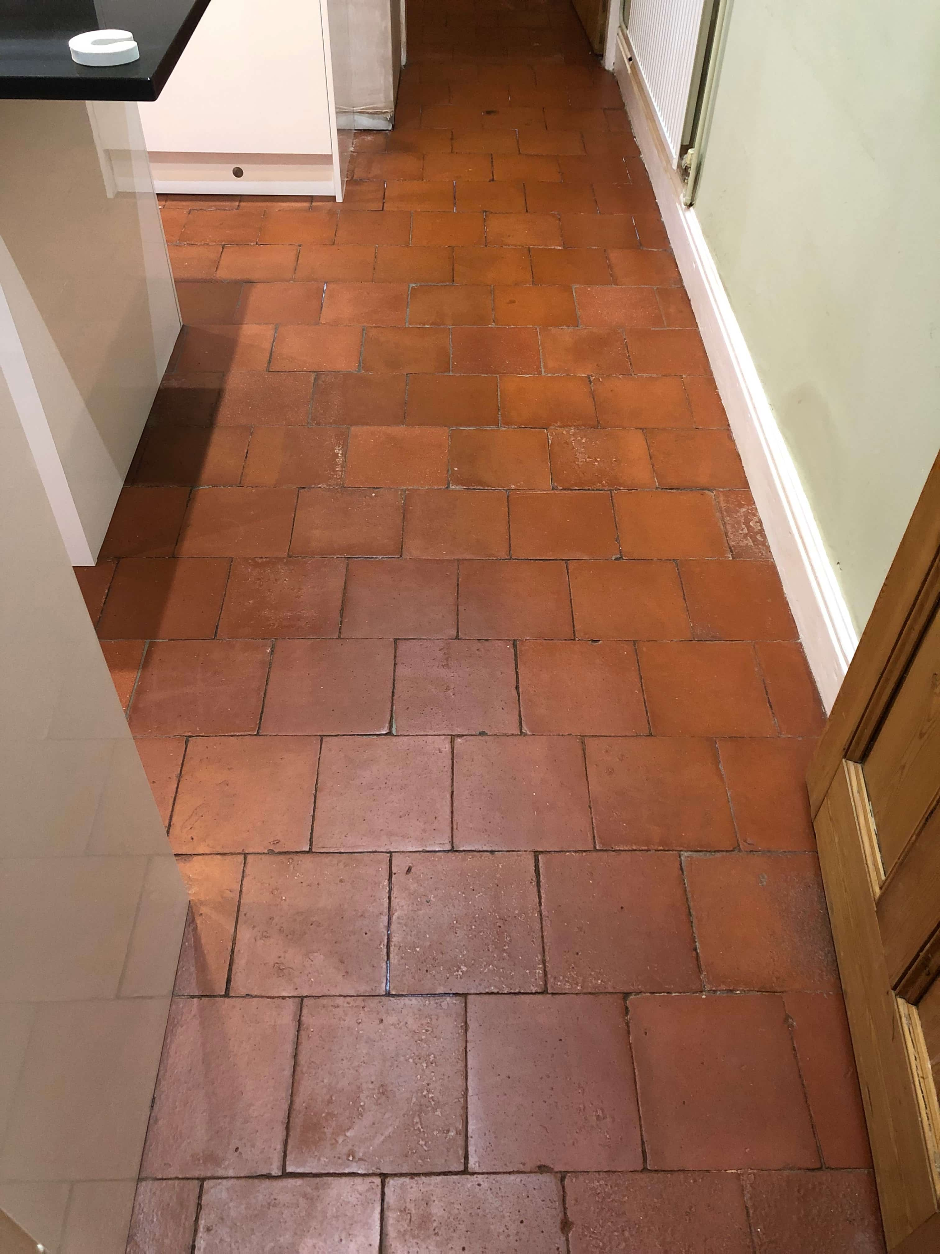 Quarry Tiled Kitchen Floor After Sealing Droitwich Spa