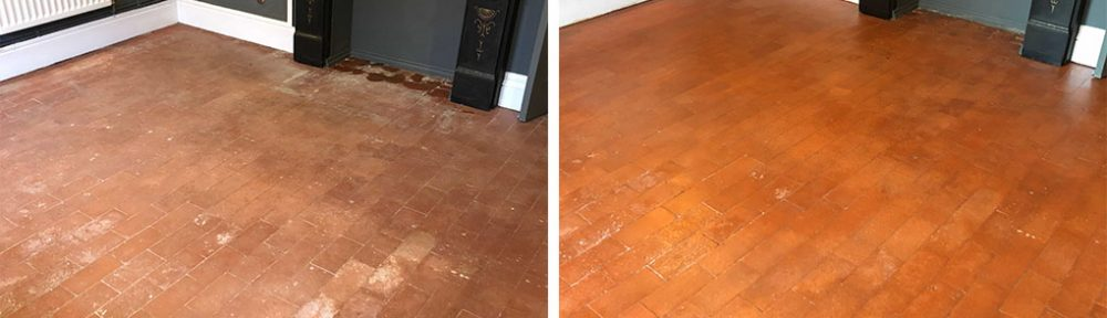 Salt Damaged Quarry Tiled Floor Before After Cleaning Hartlebury