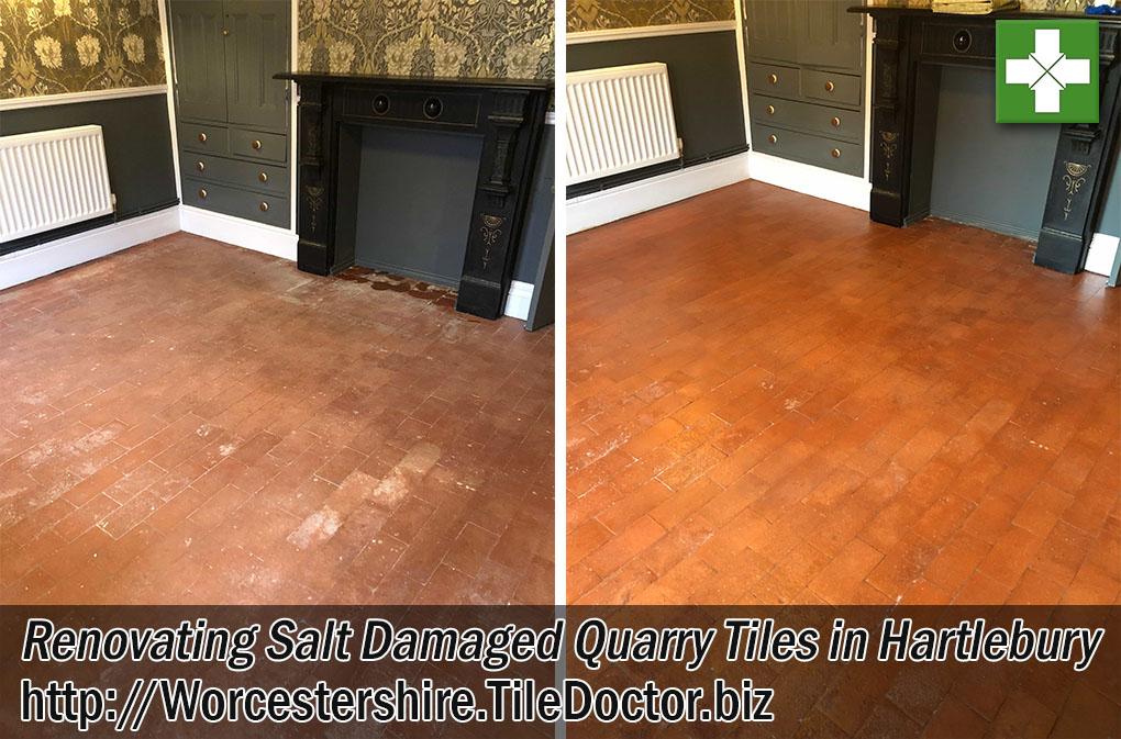 Salt Damaged Quarry Tiled Floor Before After Cleaning Hartlebury