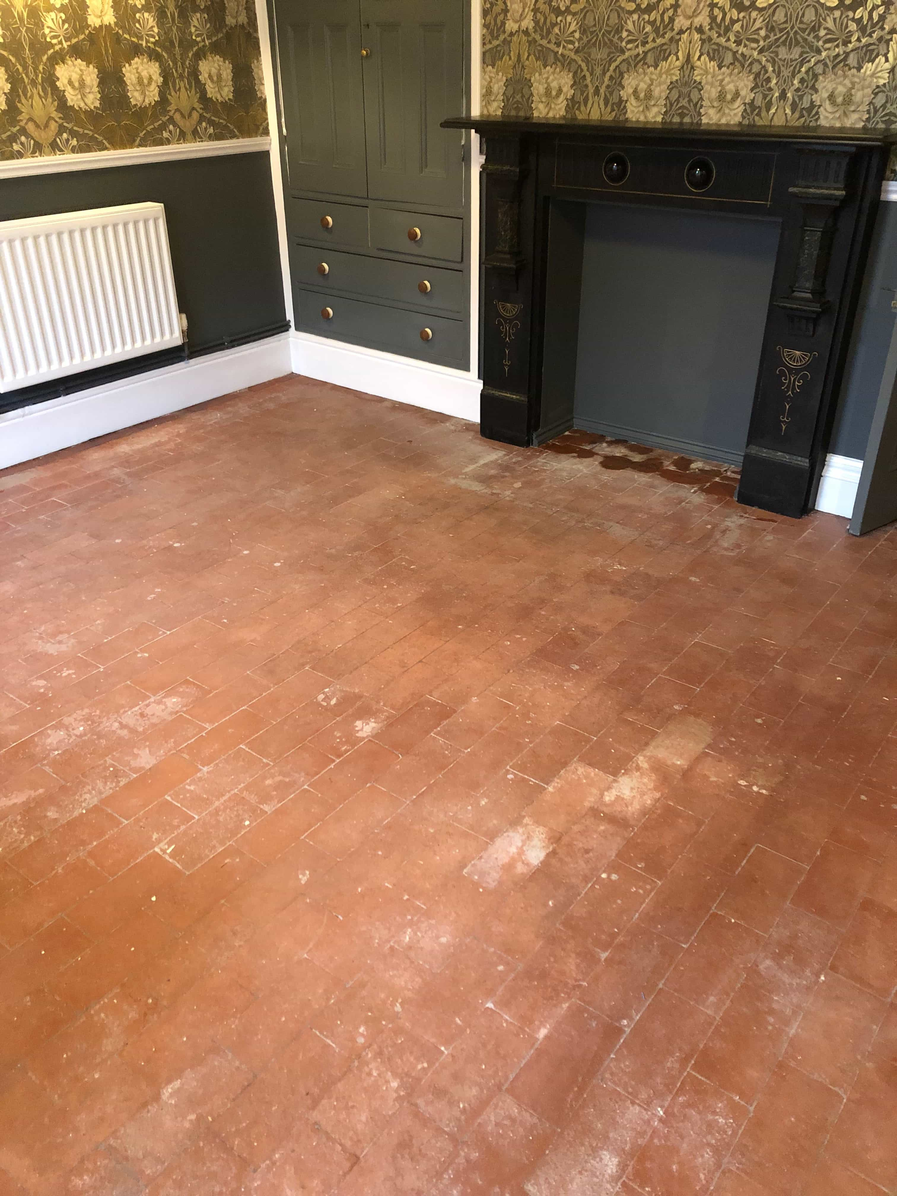 Salt Damaged Quarry Tiled Floor Before Renovation Hartlebury