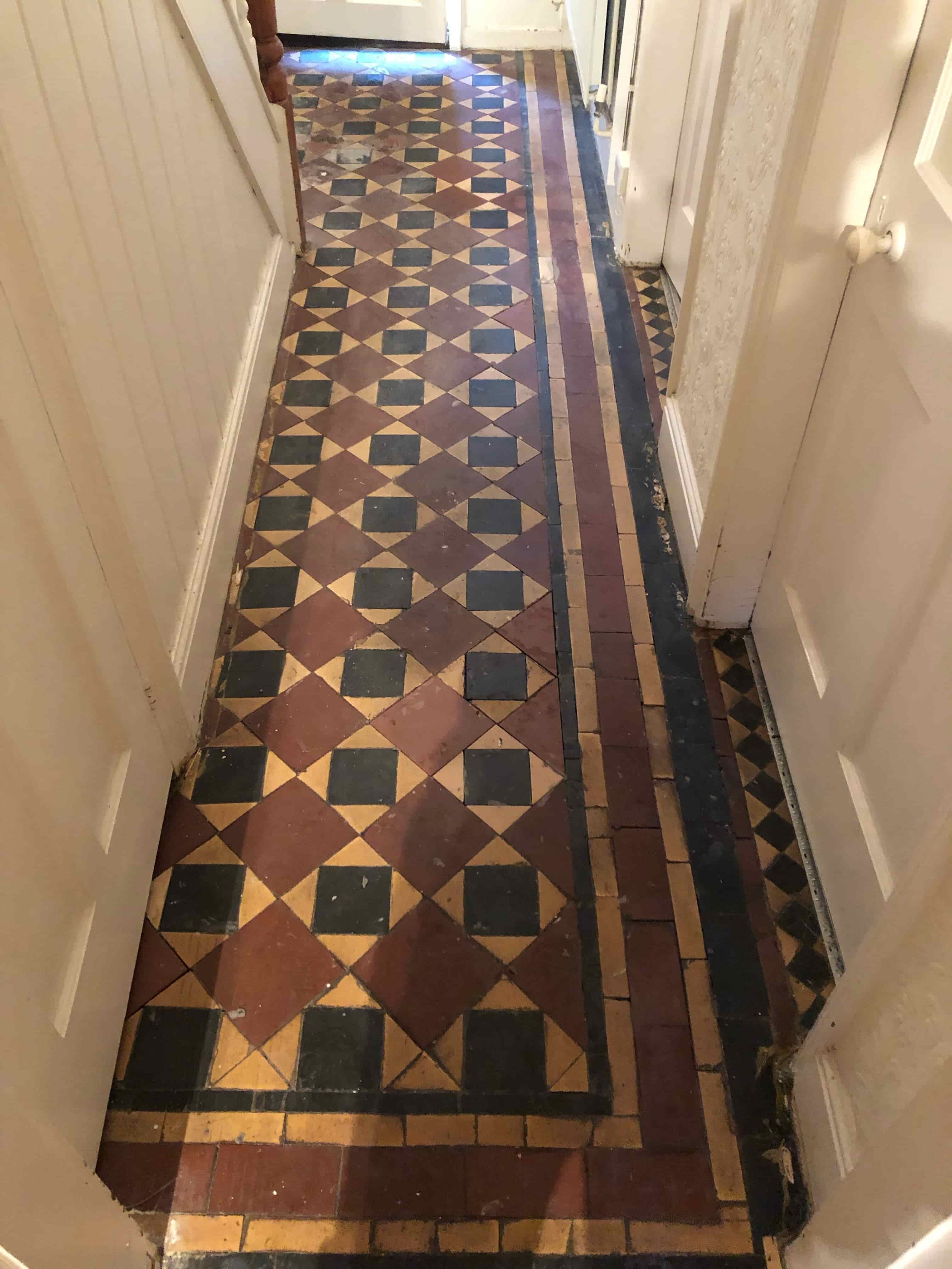 Edwardian Hallway Tiled Floor Before Clean and Seal