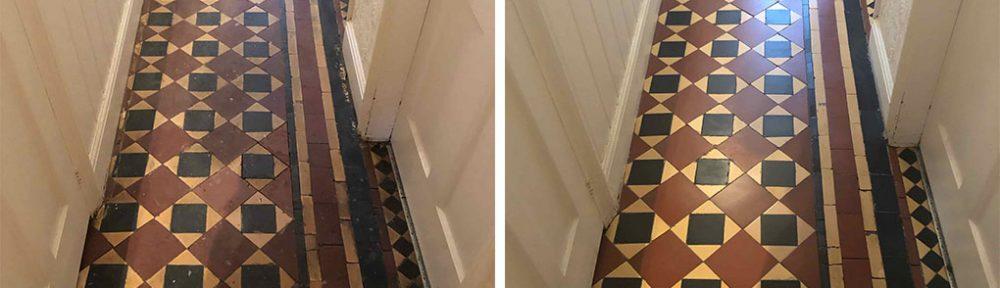 Edwardian Tiled Hallway Floor Renovated in Worcester