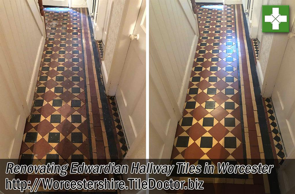 Edwardian Tiled Hallway Floor Renovated in Worcester
