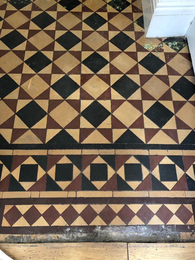 Minton Victorian Tiled Hallway Floor After Repair Renovation Kidderminster