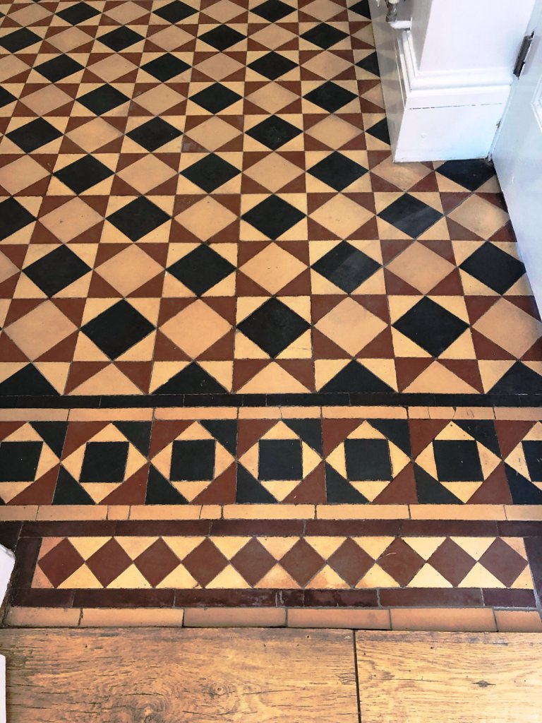 Minton Victorian Tiled Hallway Floor After Repair and Clean Kidderminster