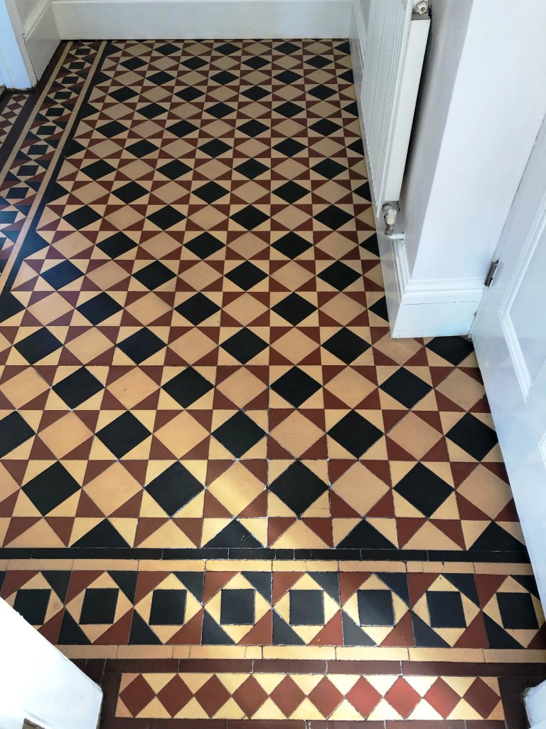 Minton Victorian Tiled Hallway Floor After Repair and Renovation Kidderminster