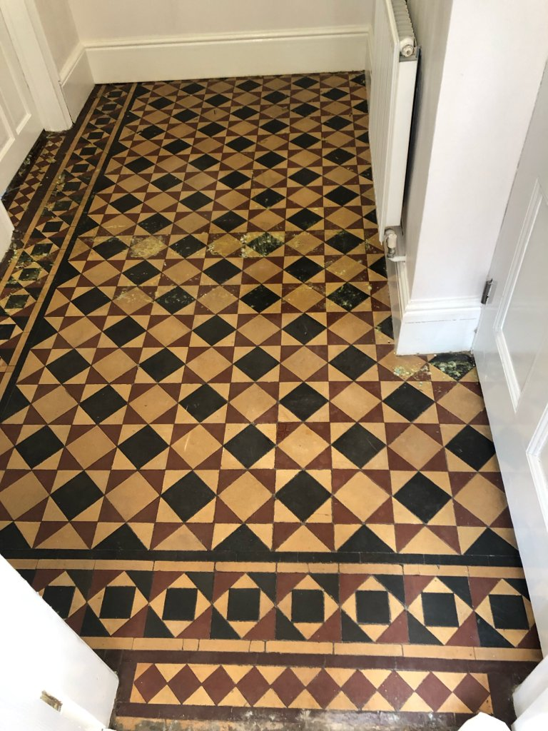Minton Victorian Tiled Hallway Floor Before Repair Renovation Kidderminster