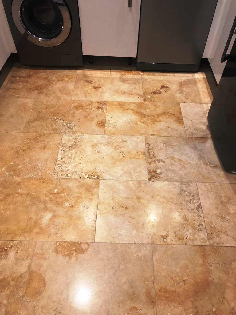 Travertine Floor After Lippage Removal Ombersley