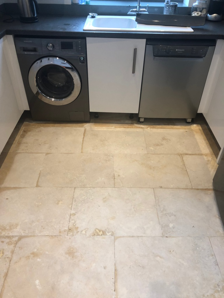 Travertine Floor Before Lippage Removal Ombersley