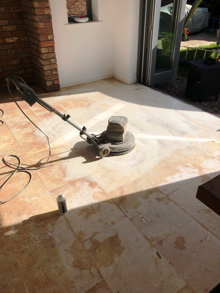 Travertine Floor During Lippage Removal Ombersley