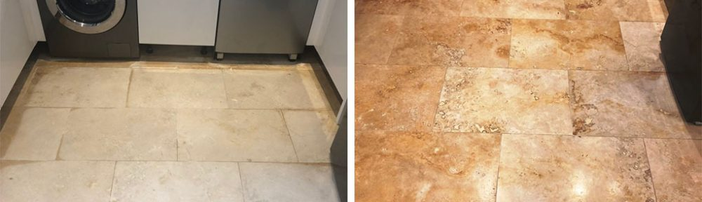 Levelling and Polishing a Travertine Tiled Floor in Ombersley
