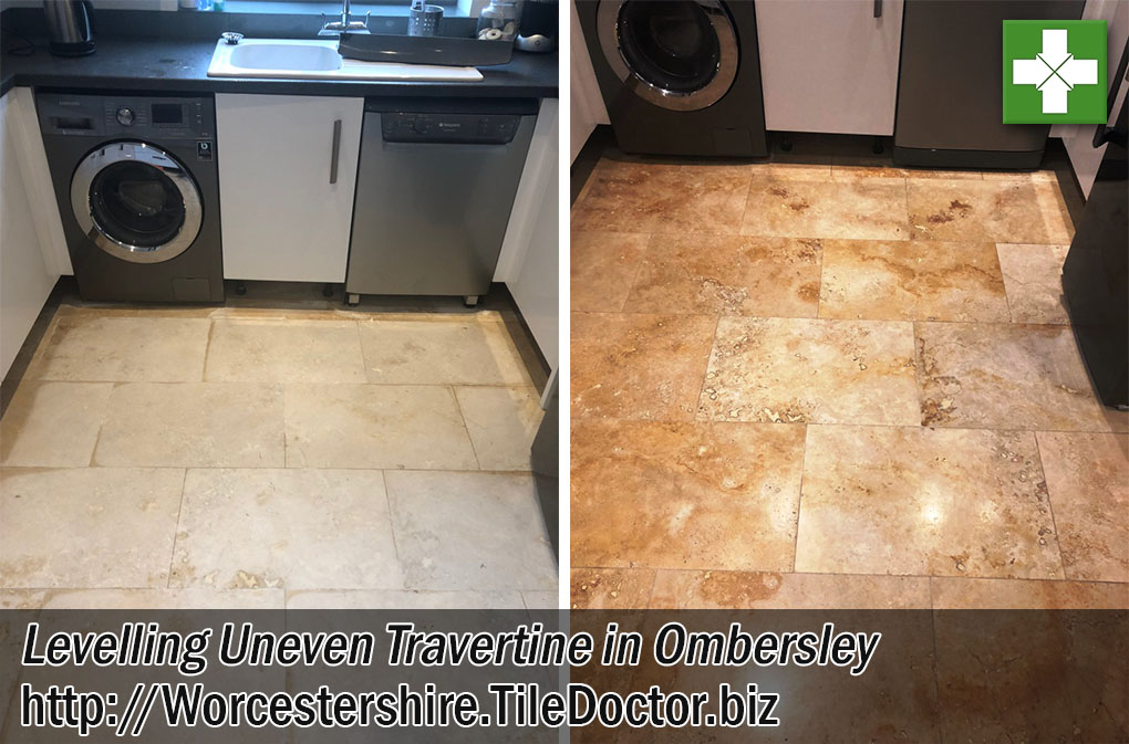 Travertine Tiled Floor Before After Renovation Ombersley