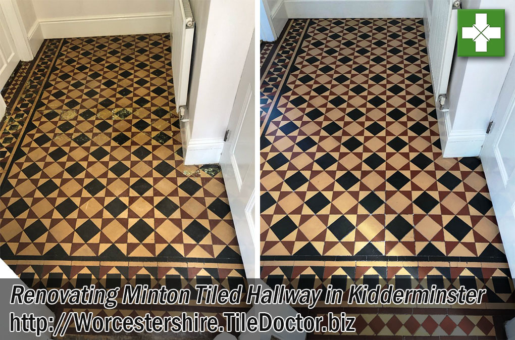 Victorian Minton Tiled Floor Before After Restoration Kidderminster