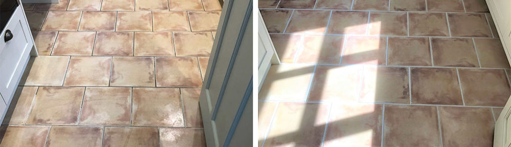 light grey grout recolouring on a ceramic tiled kitchen