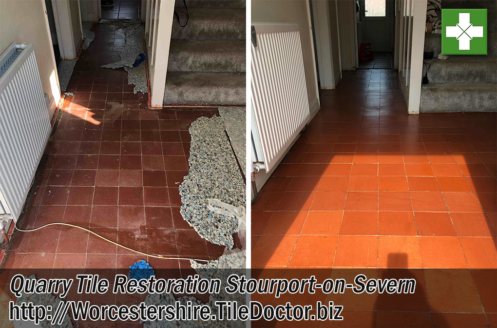 Quarry Tiled Hallway Floor Restoration in Stourport-on-Severn