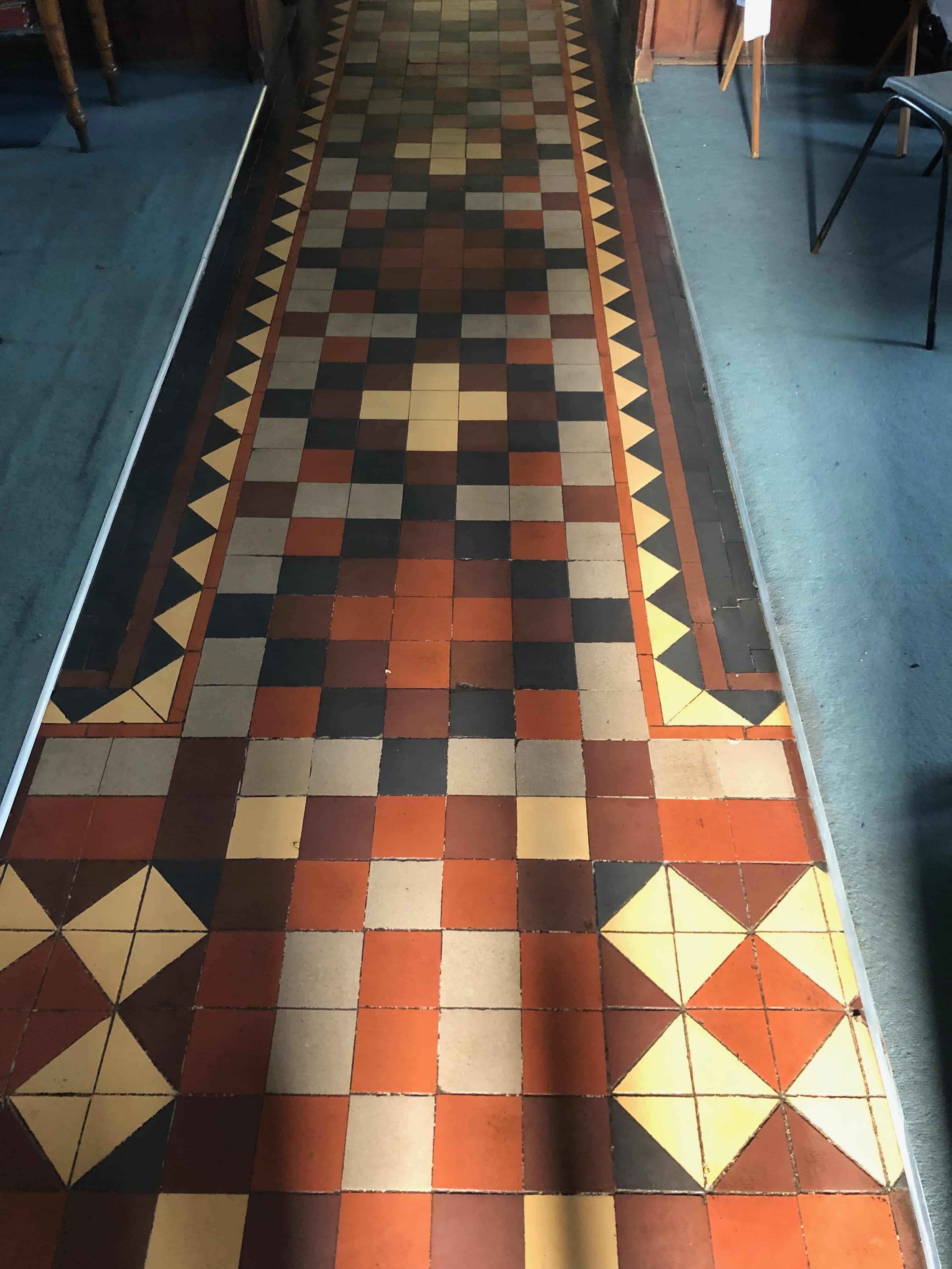 Flood Damaged Church Victorian Tiles After Restoration Worcester