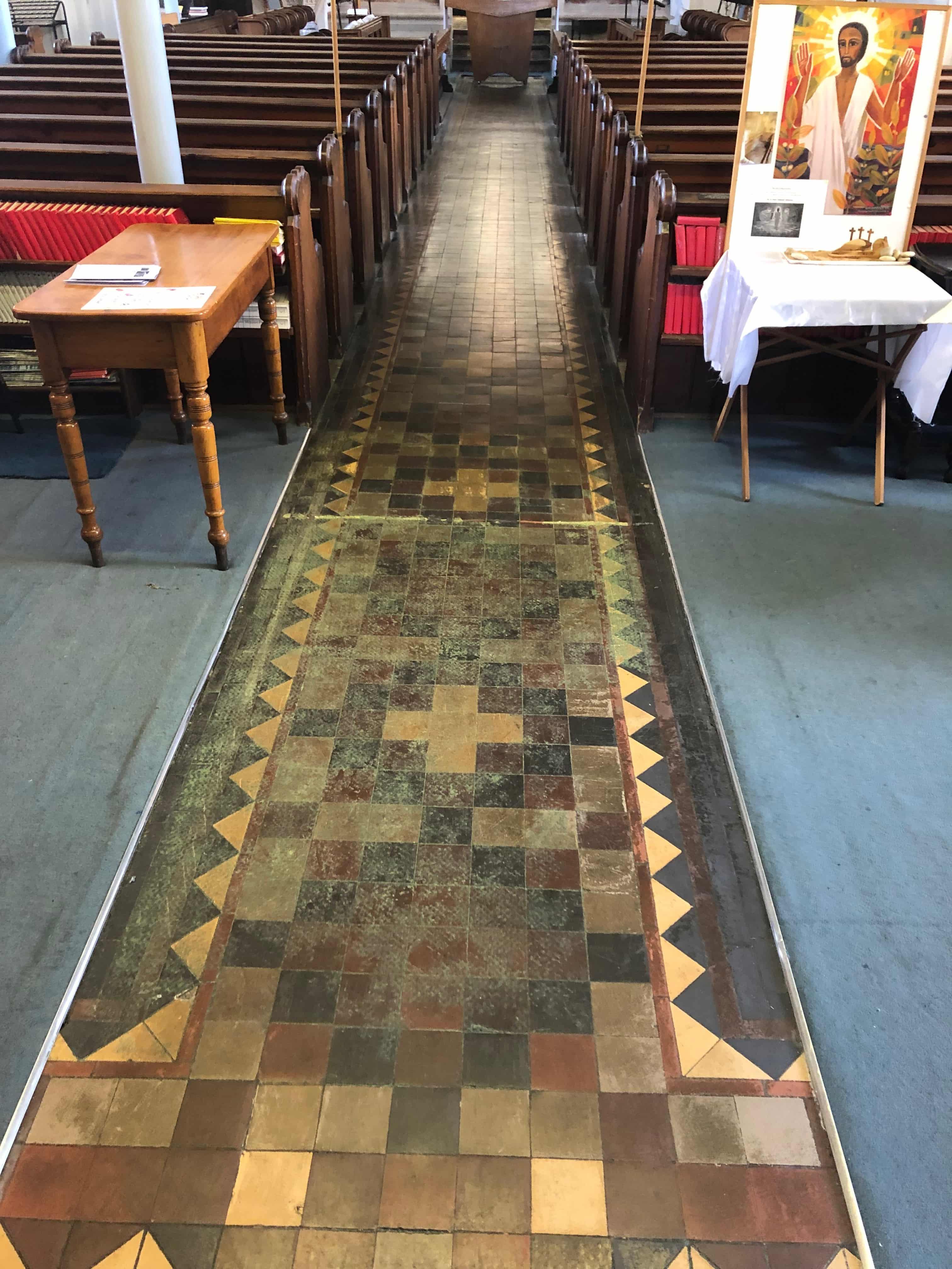 Flood Damaged Church Victorian Tiles Before Restoration Worcester