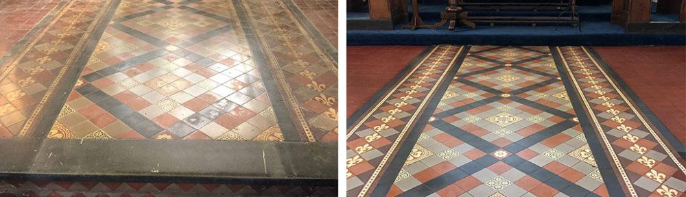 Victorian Tiled Church Floor Before After Restoration Worcester