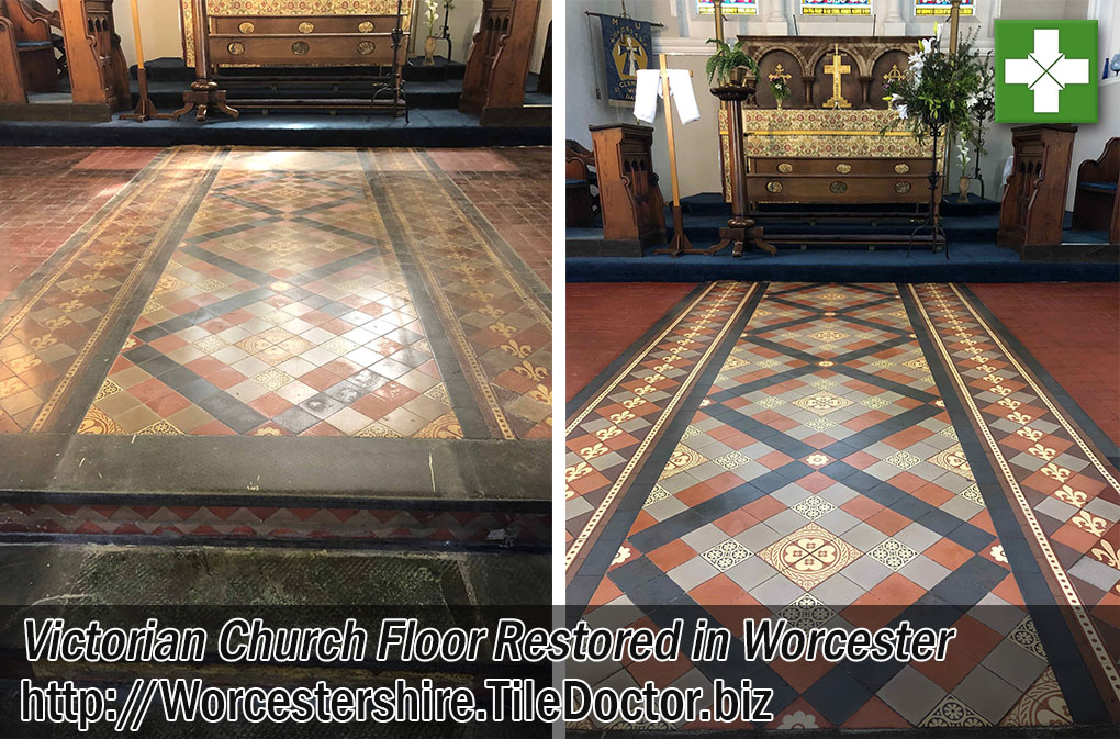 Victorian Tiled Church Floor Before After Restoration Worcester