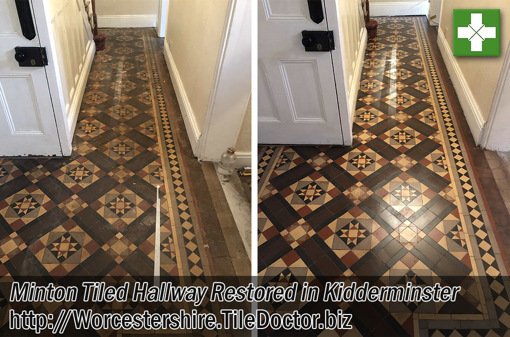 Victorian Minton Tiled Floor Before and After Restoration in Kidderminster