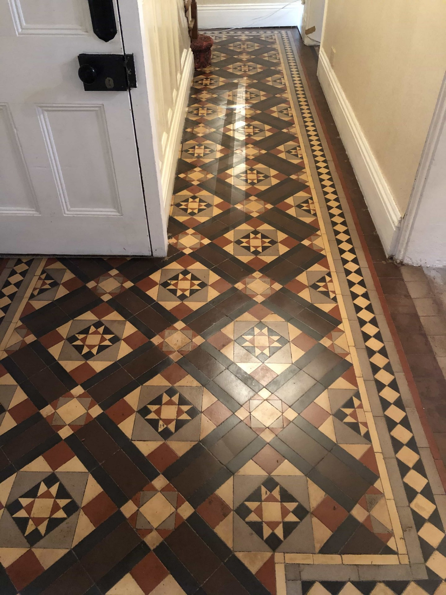 Victorian Minton Tiled Hallway Covered in Carpet After Restoration Kidderminster