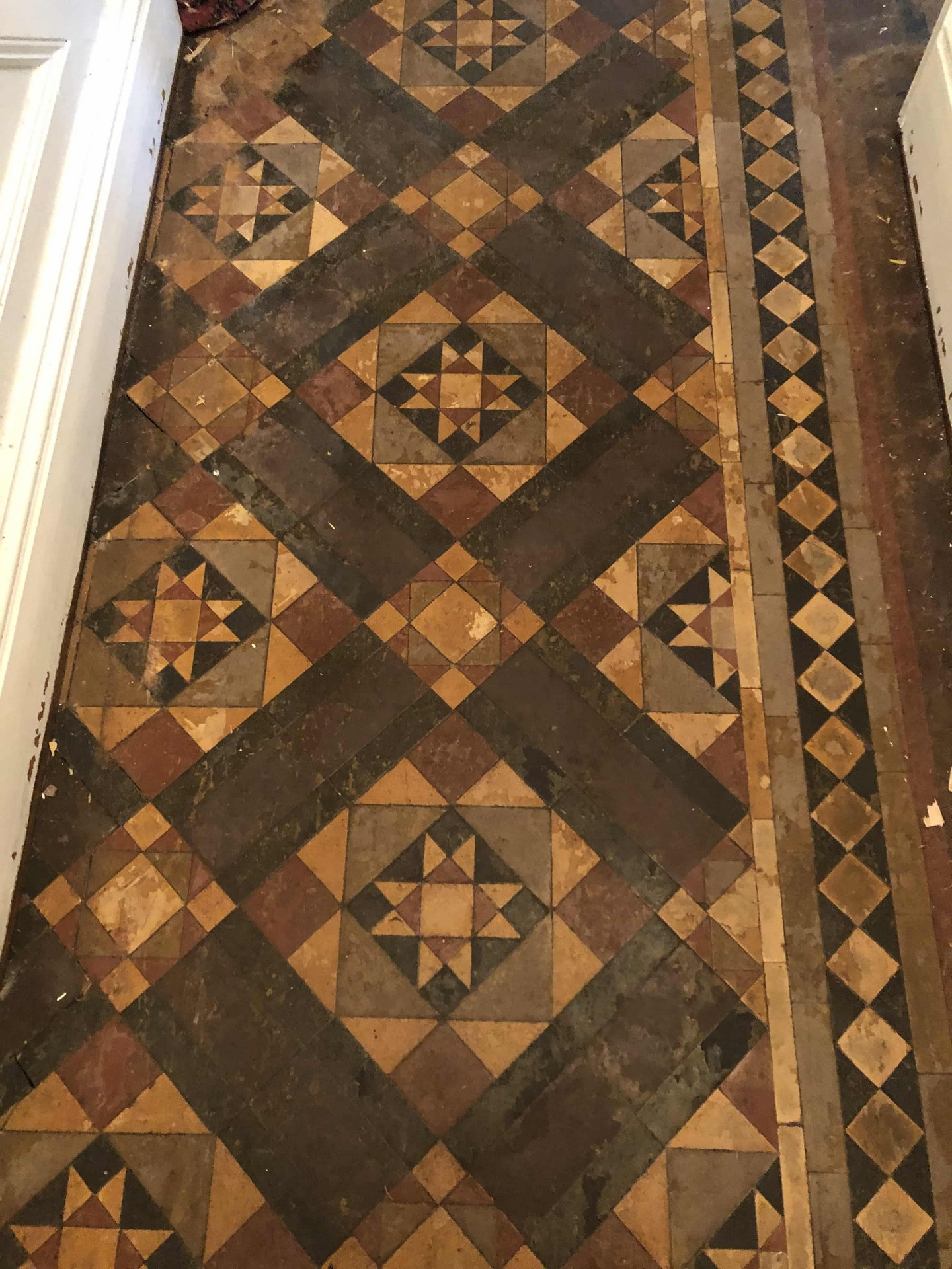 Victorian Minton Tiled Hallway Covered in Carpet Before Restoration Kidderminster
