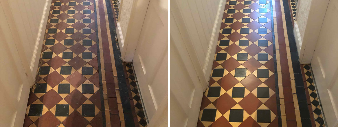 Edwardian Hallway Tiled Floor Before and After Clean and Seal