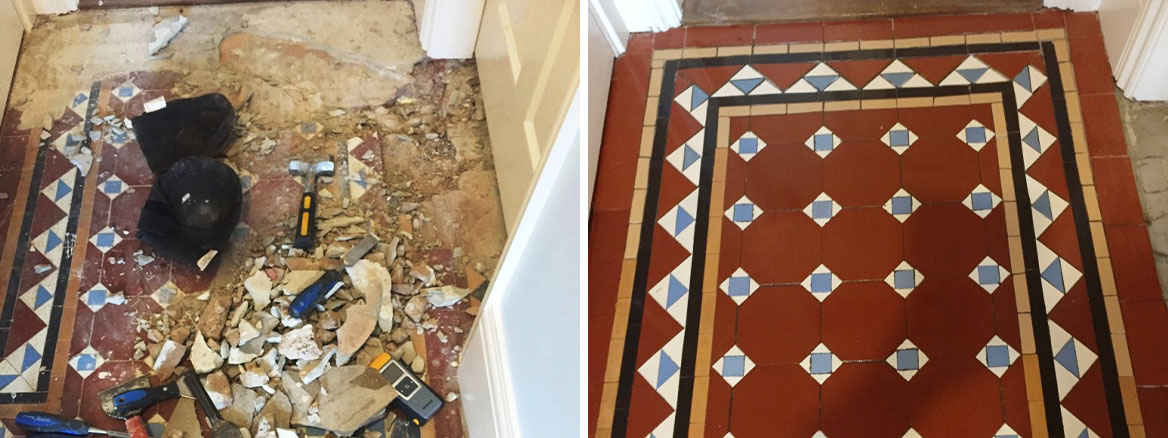 Rebuilding and Restoring an Edwardian Tiled Hallway in Bewdley